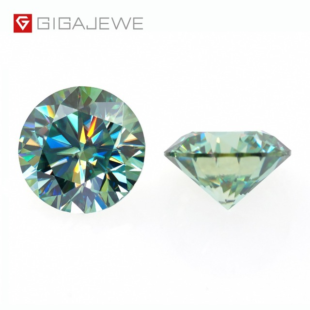 GIGAJEWE Moissanite 1.0ct Green VVS1 Round Cut laboratory Diamond Gem Loose Stone Charms For DIY Jewelry Making Girlfriend Gift