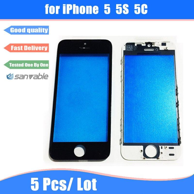imágenes para Para el iphone 5 5C 5 Unids/lote 5S Pantalla Táctil LCD Frontal Exterior de la Lente de Cristal con Marco Bisel Asamblea Reemplazo de la Reparación partes