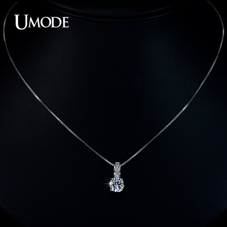 Small Silver Crystal Pendant Necklace