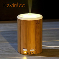 Bamboo Mist Maker Fogger 5V 2W Cylinder Air Humidifier for Home Car Essential Oil Diffuser Aroma with LED Light and Adapter