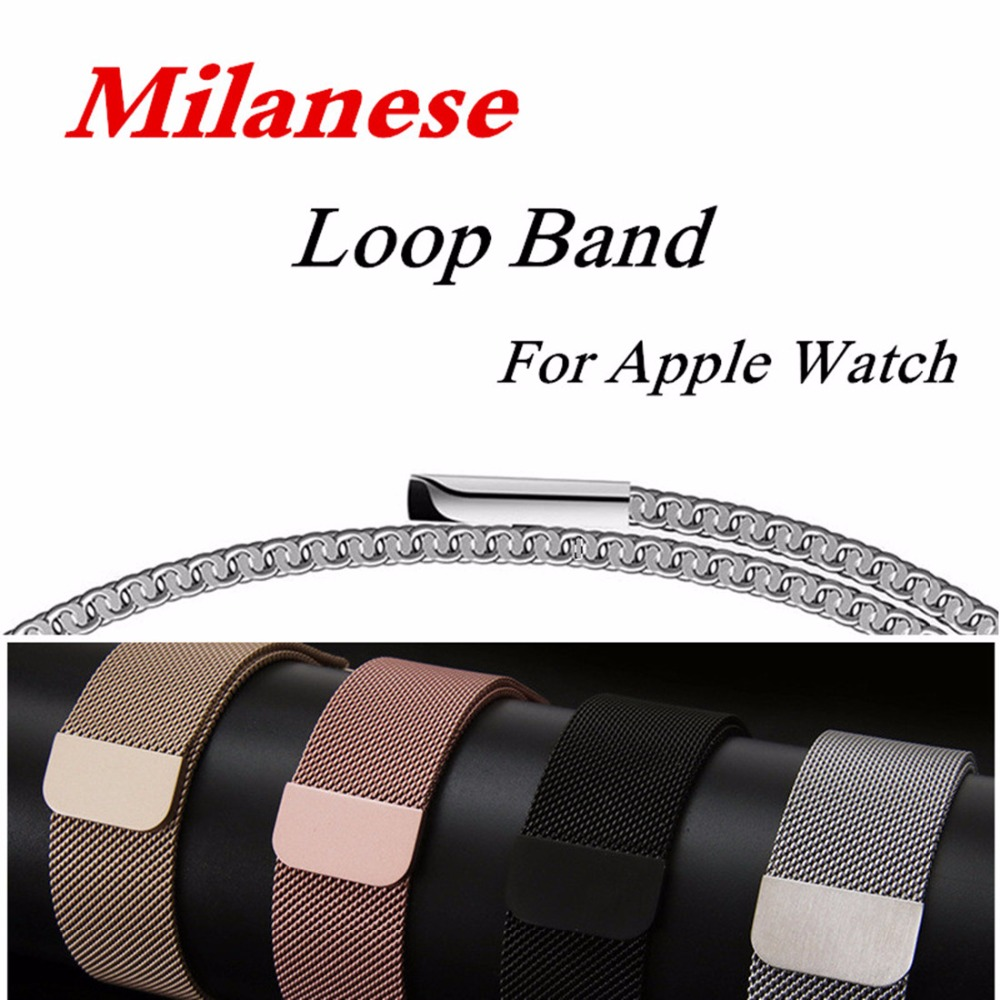 EIMO Milanese Loop For Apple Watch band strap 42mm 38mm Stainless Steel Link Bracelet watchband magnetic buckle for iwatch 3/2/1 milanese loop watch strap men link bracelet stainless steel woven black for apple watchband 42mm 38mm iwatch free tools