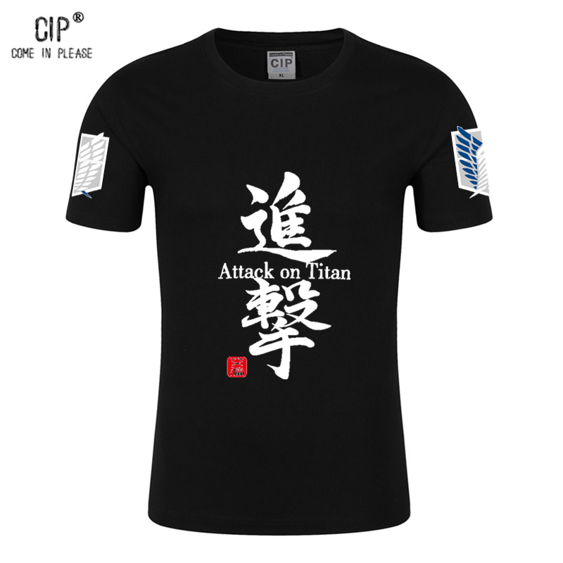CIP 100% Cotton Attack on Titan Shirt Summer Fashion 3D T Shirt Two-sided&Sleeve Printing Luxury Brand Male Shirt Men Top Tees
