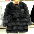 Brand Besty Women Natural Genuine Real Fluffy Shiny Fox Fur Coats Winter Three Quarter Sleeve Outerwear Warm Thick  Coats Vest