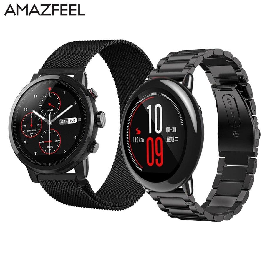 Correa de reloj 20/22mm para Xiaomi Huami Amazfit ritmo Stratos 2 de la correa de Metal de acero inoxidable para Xiaomi Amazfit bip correas pulsera
