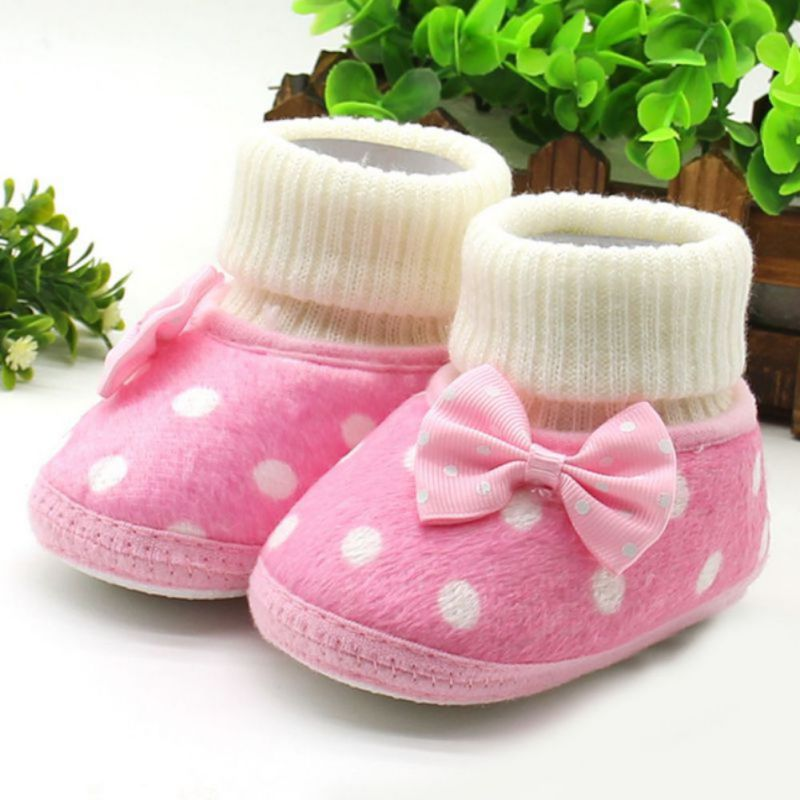 Soft & Warm Baby Shoes Born Baby Girl Bowknot Fleece Snow Boots Booties White Princess Shoes LM58 Arrival New