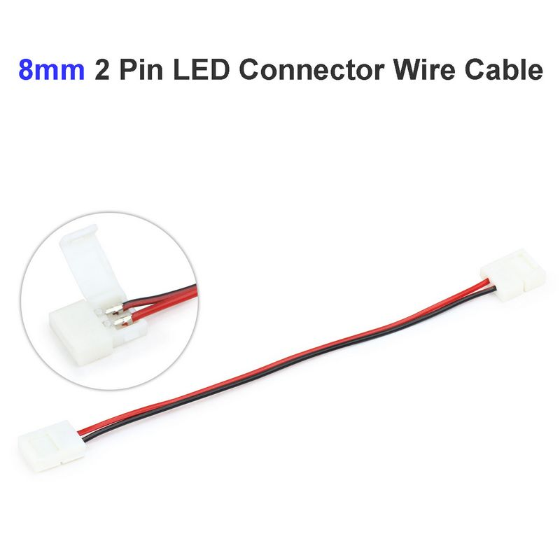 5pcs 8mm 2pin LED Strip Connector Wire Adapter For SMD