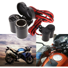Motorcycle Scooter Handle Bar Mounted Charger Waterproof Dual USB Charger + 12V/24V Motorcycle Cigarette Lighter Socket