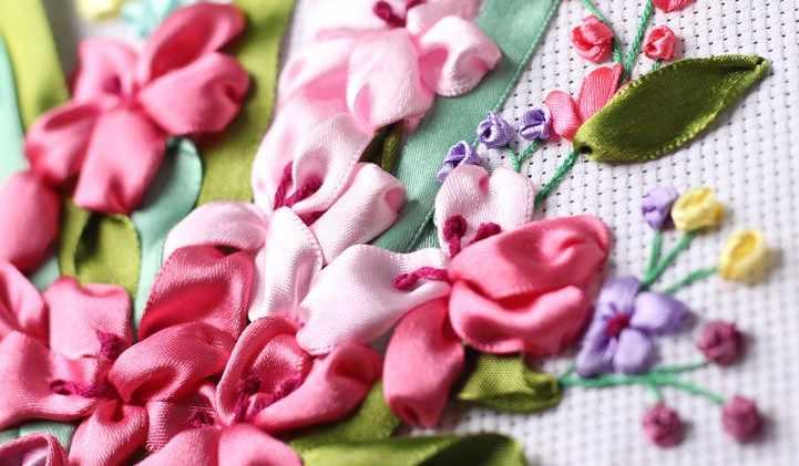 زهرة زهرية مجموعة سلة طقم تطريز الشريط وصمة عار الحرير حزام اللوحة الحرفية عدة لتقوم بها بنفسك اليدوية الإبرة ديكور فني للمنزل زائد