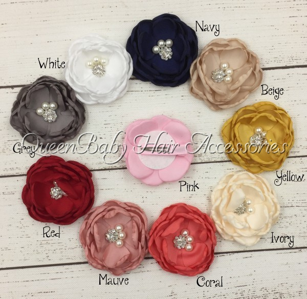 20Sets/lot Baby Hair Clips Satin Poppy Flower Handmade Flower Girls Hair Clips Kidocheese high quality big rose flowers ribbon banana hair clips for women fashion hair flower barrette girls hair accessories 2 colors