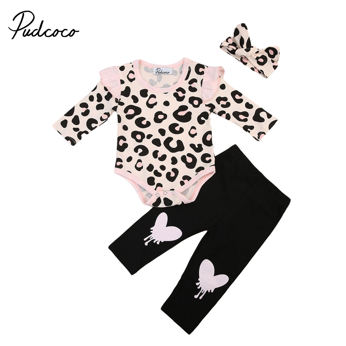 3pcs Baby Girl Clothes Set Infant Cotton Casual Long Sleeve Leopard Top T Shirt Romper Pants Outfits Party headband casual romper jumpsuit baby girl clothes gold polka dot cotton sleeveless outfits set baby girl 3 6 9 12 18 24 monthes