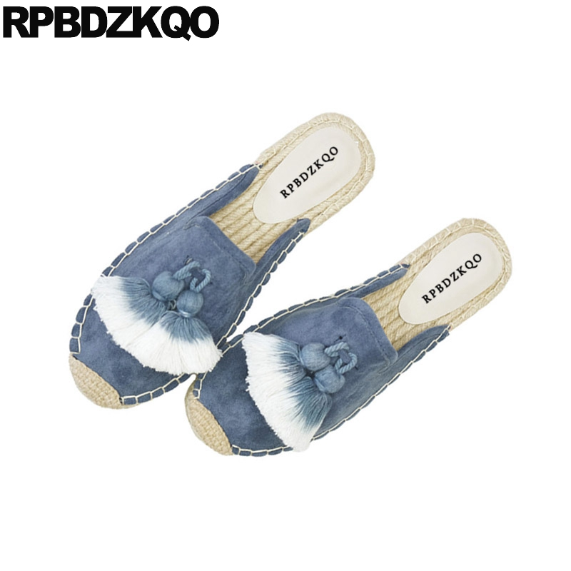 Canvas Espadrilles Women Tassel Flats Latest Suede Slippers Round Toe Nude Hemp Fringe Mules Sandals Blue Shoes Fisherman vintage embroidery women flats chinese floral canvas embroidered shoes national old beijing cloth single dance soft flats