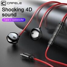 Cafele 3,5 мм наушники в ухо для samsung Xiaomi huawei шокирующие 4D звук usb type C наушники проводные наушники спортивные стерео гарнитура
