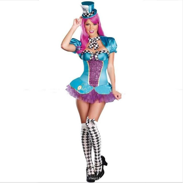 halloween costume female magician cosplay crazy clown hat bars nightclubs performance costumes