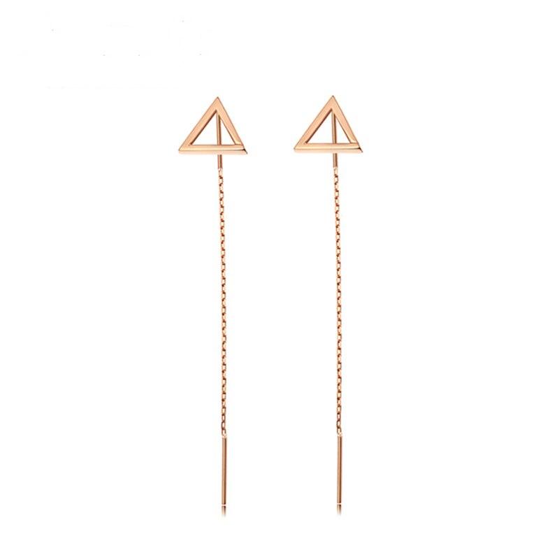 Boucles d'oreilles Triangle en or Rose 18 K VOJEFEN boucles d'oreilles pendantes femmes Boho Piercing boucles d'oreilles pendantes longues boucles d'oreilles à pampilles