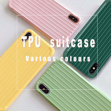 ciciber Phone Case For iPhone 7 8 6 6S Plus X XR XS MAX Fashion Anti-fall Suitcase Cover Back Soft Silicone Candy Color Coque
