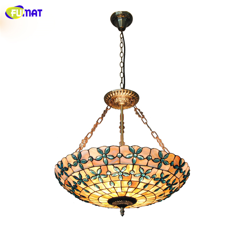 FUMAT 24 Tiffany Natural Shell Chandeliers European Indoor Lamps Home Decor Blue Flowers Lampshade Lightings For Living Room