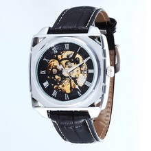 GOER brand Men s watches mechanical Automatic Movement Skeleton Luminous Male leather waterproof Square