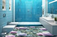 Custom 3d Flooring Self Adhesive Wallpaper Stone Water Lotus 3d Room Wallpaper Landscape Tile Flooring Bathroom