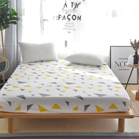 1pcs 100% Cotton Stylish Color Triangle Pattern Fitted Sheet Stripe Mattress Cover Four Corners With Elastic Band Bed Sheet Soft