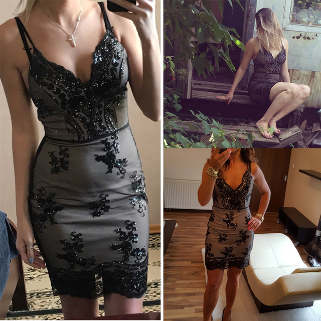 97a989563b9 ... Womens Gold Black Sequins Dress 2018 New Sexy V-neck Backless Women  Sundress Luxury Party ...