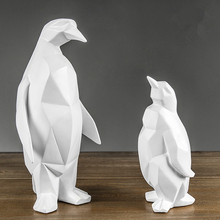 New Arrival Abstract Geometric Origami White Penguin Resin Statue Creativity Desktop Crafts Sculpture  Home Decoration Figurine
