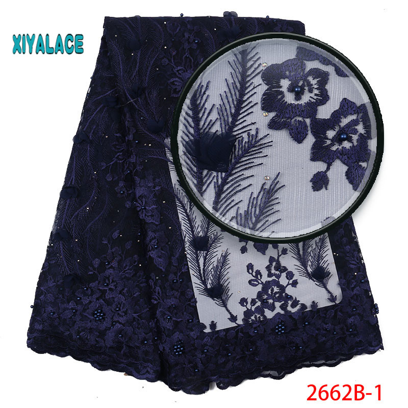 2019 New Style French Net Lace Fabric 3D Flower African Tulle Mesh Lace Fabric High Quality Lace Nigerian Lace Fabric YA2662B-1