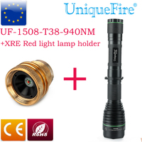 1508 T38 Infrared Flashlight 3 Modes IR 940NM Led Bulb+XRE Red Light Lamp Holder for Rifle Shooting Illmianted Operating Driver