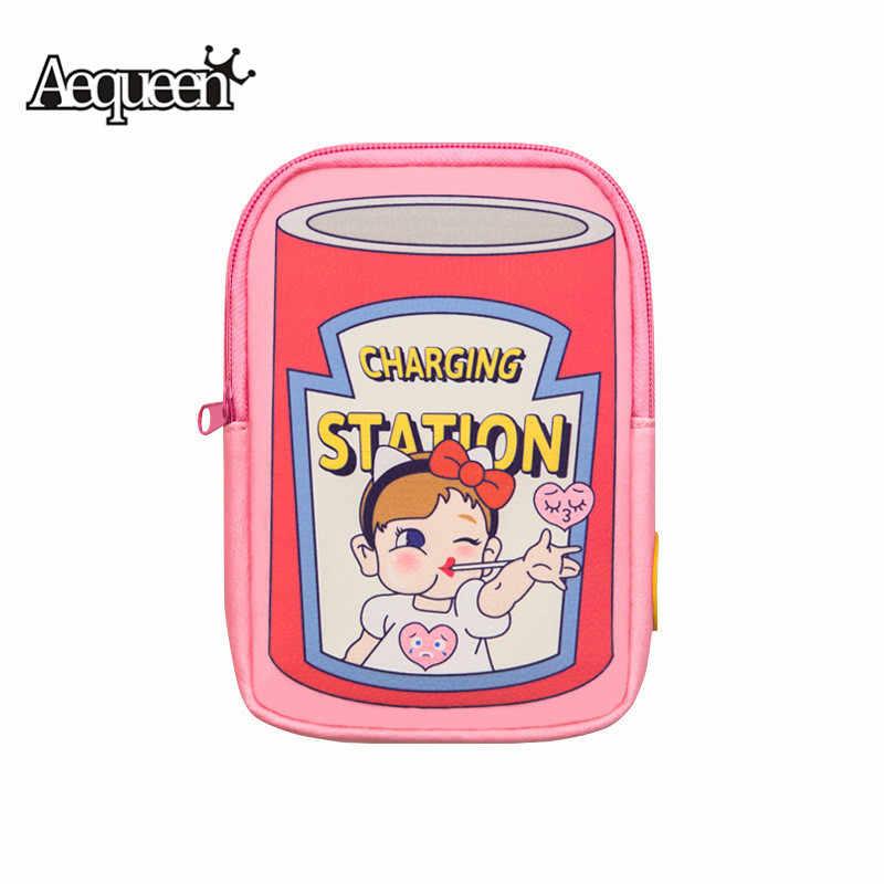 AEQUEEN النساء صغيرة الوردي جيوب لطيف الأحرف البسيطة رفرف أكياس الكرتون المحافظ الفتيات حقائب الهاتف المحمول التخزين المنظم حقائب