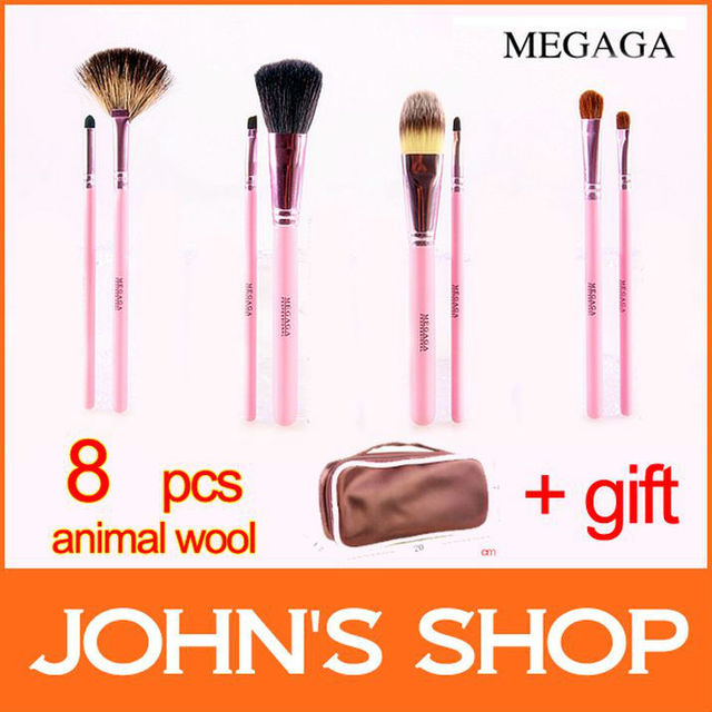 Professional makeup suits 8 Pcs Makeup Brush Set &  high quality with pink case  cosmetic brush sets Free shipping