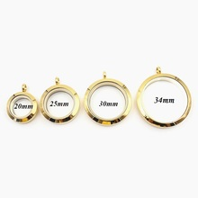 6Pcs/lot Mix Size Gold Plain Twist Screw Floating Locket 316L Stainless Steel Charms Memory Glass DIY Pendant