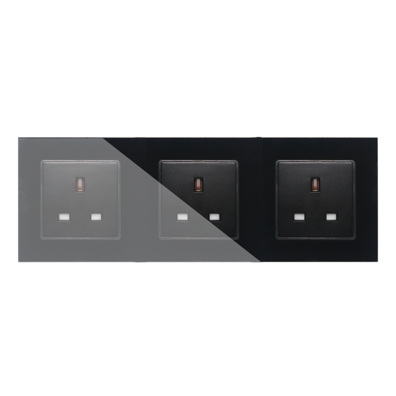 UK Standard Socket, 3 Gang White Crystal Toughened Glass Outlet Panel, Triple Wall Power Sockets Without Plug,GB-C7C3UK-12 uk standard 1 gang socket with 2 usb chargering 3 pin white glass panel wall socket and 2100ma usb wall plug outlet