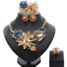 Dubai Gold Jewelry Sets Nigerian Wedding African Beads Crystal Bridal Jewellery Set 2018 Geometric Gold Color Jewelry Set(China)
