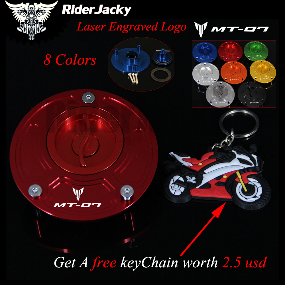 Red Motorcycle Keyless Motorcycle Gas Cap Fuel Tank Cap Cover For Yamaha For Yamaha MT-07 MT07 MT 07 2014 2015 2016 With Logo