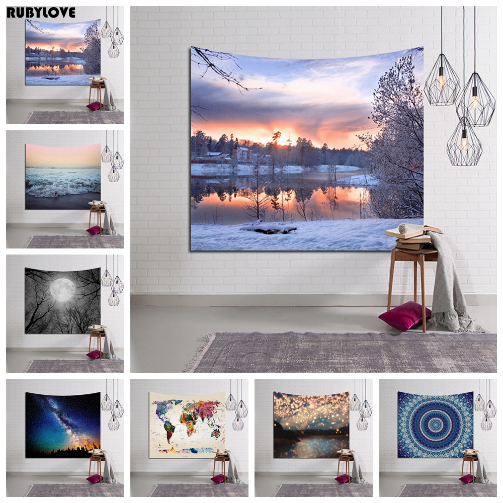 Scenery Hanging Wall Tapestry Hippie Retro Yoga Beach Towel Home Decor Rug Blanket 150x130cm / 150x100cm YYY9436