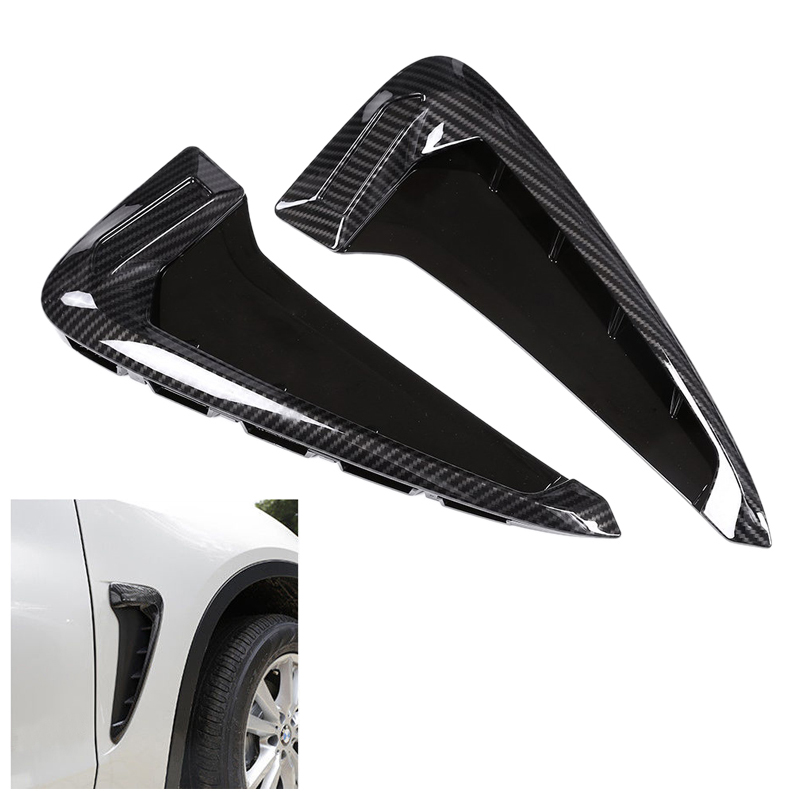 1 Pair Gloss Carbon fiber Side Body Marker Fender Air wing Vent Trim M For X5 F15 2014 2016