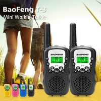 1 par mini baofeng BF-T3 walkie talkie portátil 8 canais crianças two-way rádio 10 tons de chamada hf transceptor comunicador t3