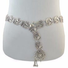 Bohemian Gypsy Silver Fashion Elephant Body Chain Bells Tassel Carved Hollow Out Flower Charm Waist Belly Chain Women Jewelry