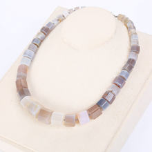 Blue Rainbow Natural Stone Necklace Choker Men Magnesite Square Diamond Stone Gemstone Power Crystal Male Fine Jewelry Gift NEW(China)