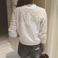 Hot Selling Fashion Women Bomber Jacket Long Sleeve Lace Sunscreen Shirt Short Summer Thin Coat Casual Baseball Coat -B5