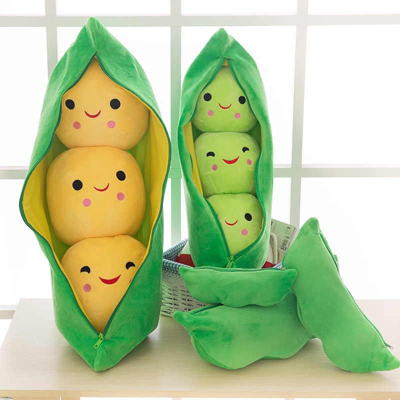 2019 Nova Planta de Ervilha Bonito Stuffed Boneca 3 Feijão Ervilha-Em Forma de Brinquedo de Pelúcia Travesseiro Brinquedo Do Miúdo Com um Pano caso Criativo Brinquedo de Pelúcia 2 Cores