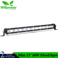 13'' Led Bar Slim Offroad 6000K Single Work Light Bar Spot Flood Beam for Barra Led Lada For Niva 4x4 Jeep Ford Car Styling
