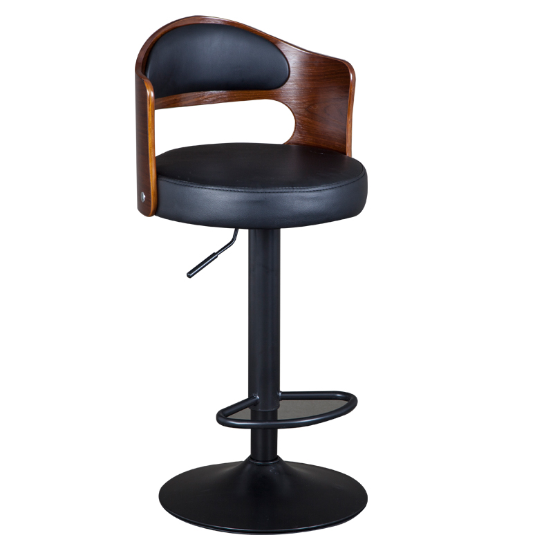 1B Solid Wood Bar Stool European Bar Stool Home Retro Backrest Lift Rotating High Stool Front Desk Cashier Bar Chair