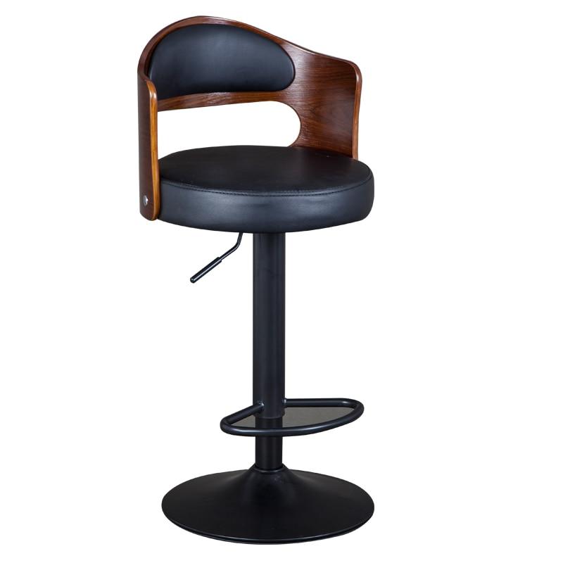 1B Solid Wood Bar Stool European Bar Stool Home Retro Backrest Lift Rotating High Stool Front Desk Cashier Bar Chair