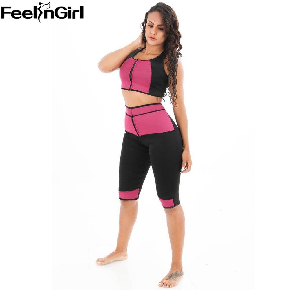 FeelinGirl Hot Sweat Neoprene Shapewear Sauna Shirt Vest Body Shapers for Weight Loss Zip Crop Top+Slimming Pants Plus 3XL -C
