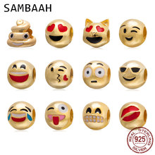 Sambaah 925 Polished Sterling Silver Network Emoticons Emoji Face Charm Beads for Pandora Halloween Bracelet SS3581