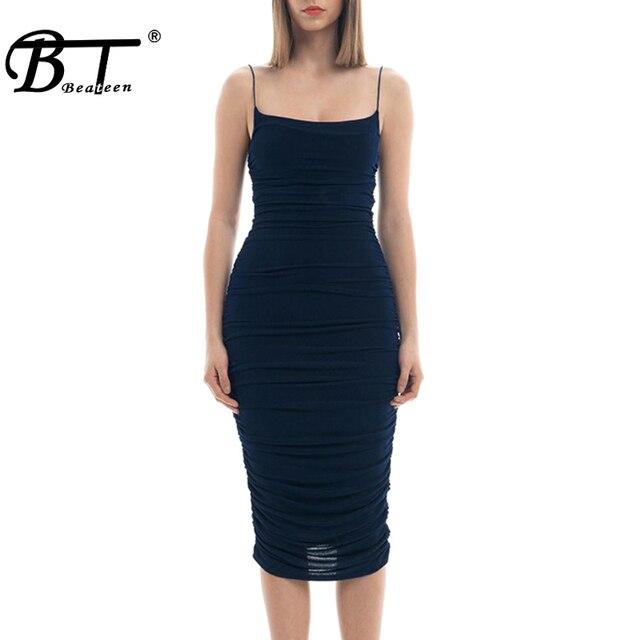 Beateen 2019 New Fashion Spaghetti Strap Slash Neckline Skinny Ruched Chiffon Women Party Bodycon Midi Dress