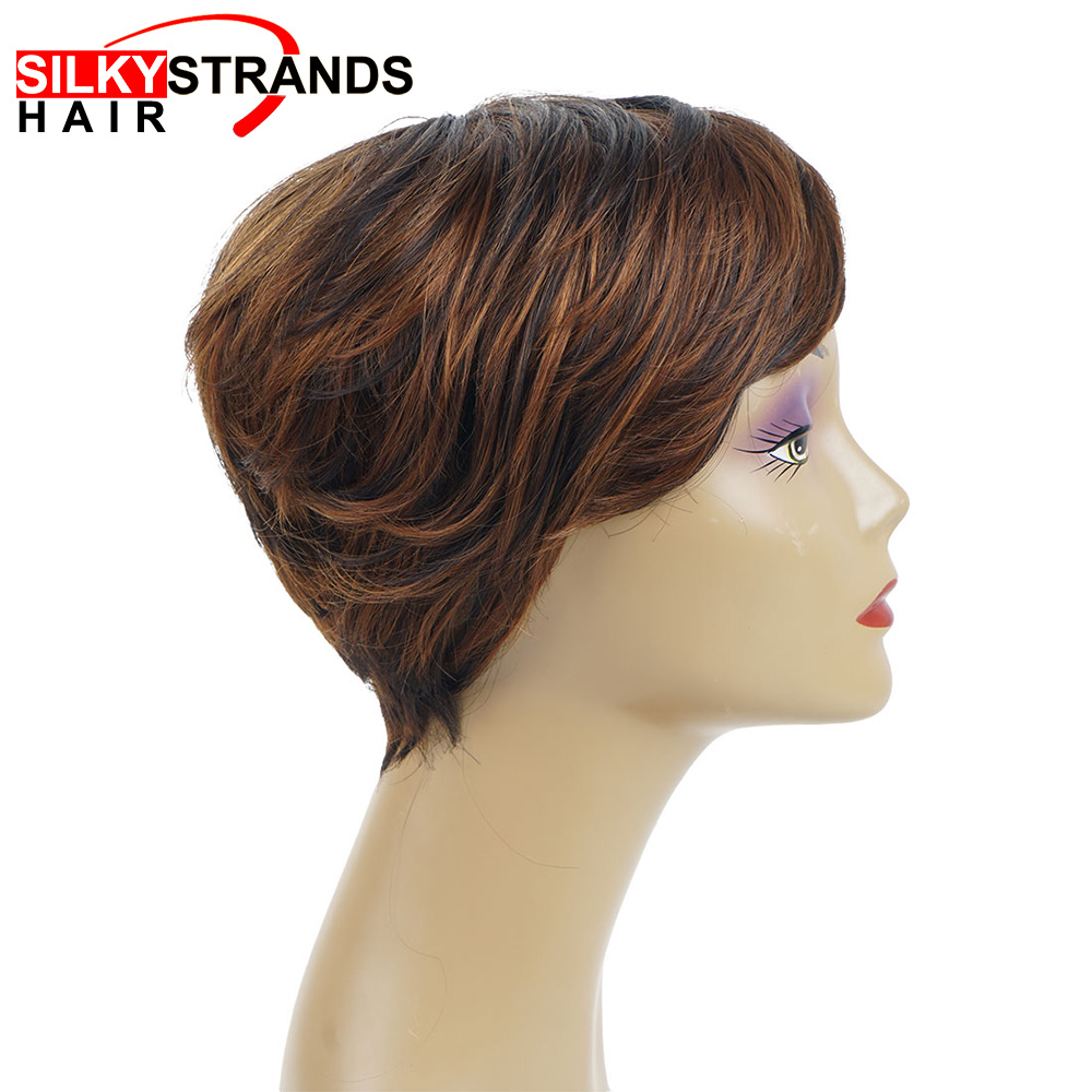 Short Pixie Cut Wigs Straight  Synthetic Wigs Bob Cut Wigs Hairstyle Black Wig For Women With Side Part Bang Silky Strands