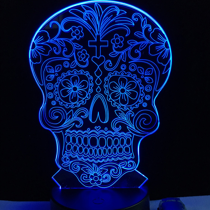 Wholesale Creative Artistic 3D Visualization Flower Skull LED Lamp Crossbones Hologram Head Night Light Halloween Decor Toy RGB robin nixon creative visualization for dummies