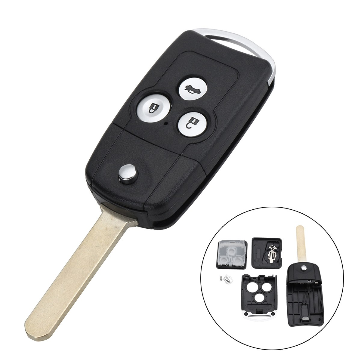 3 Buttons Car Remote Flip Key Fob Case Shell Upgrade For Honda For Civic For Accord Jazz CRV(China)