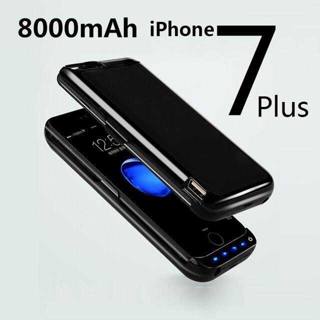 Para iphone 7 plus caso carregador de bateria 8000 mah caso poder tampa da bateria externa banco de potência sem fio carga da bateria tampa